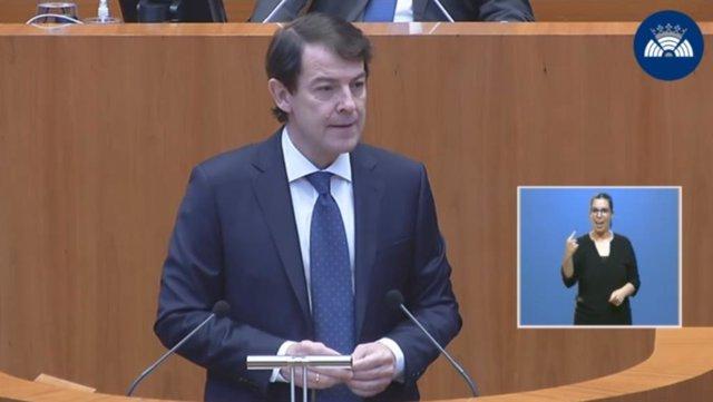 Captura de la comparecencia de Fernández Mañueco en el debate sobre el estado de la Comunidad.