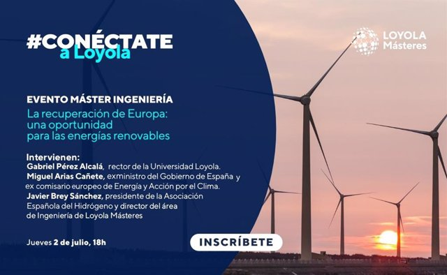 Cartel promocional del encuentro virtual de Loyola Andalucía sobre energías renovables.