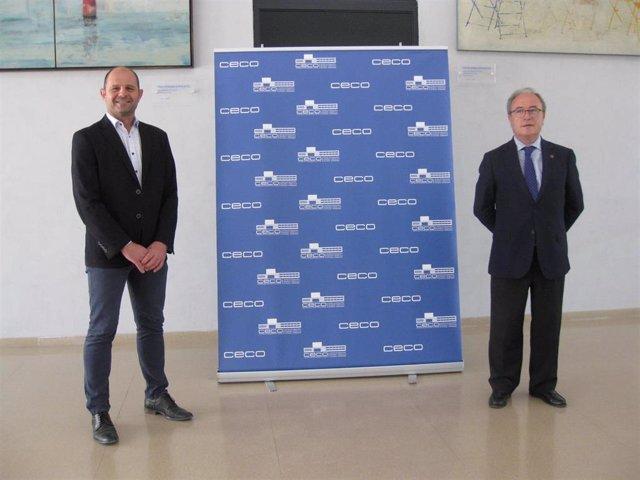 El delegado de Empleo de la Diputación de Córdoba, Miguel Ruz (izda.), y el presidente de CECO, Antonio Díaz, durante el encuentro mantenido