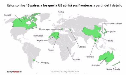 Los 27 dan luz verde a la lista de 15 países a los que primero abrirán su frontera exterior
