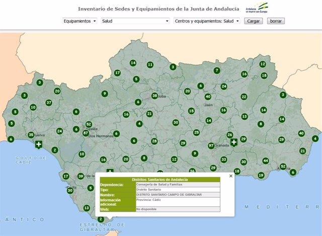 Imagen del visor de consultas del Instituto de Estadística de Andalucía sobre servicios públicos.