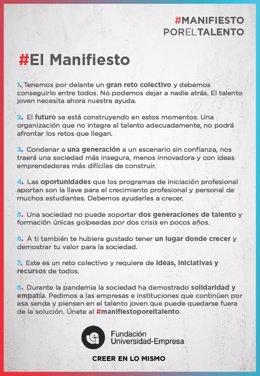#Manifiestoporeltalento Promovido Por Fundación Universidad-Empresa