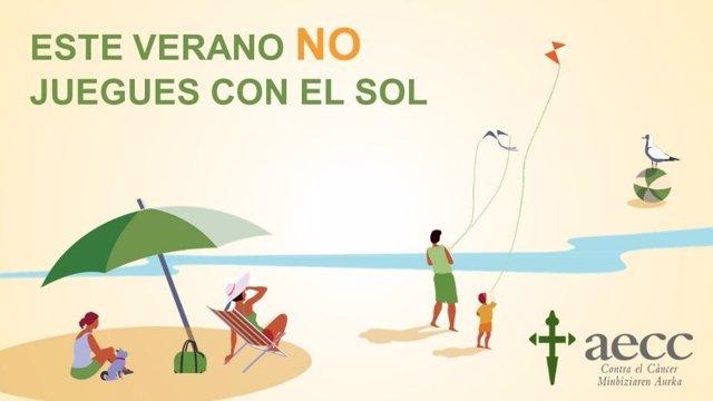 Cartel de la campaña 'Este verano no juegues con el sol' de la AECC
