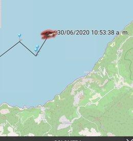 Posición de la tortuga 'Colomera' en el mapa la mañana de este martes, en aguas del área del Port de Valldemossa, en Mallorca.