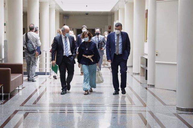El Ministro de Justicia, Juan Carlos Campo (1i); y la Vicepresidenta primera del Gobierno y Ministra de la Presidencia, Relaciones con las Cortes y Memoria Democrática, Carmen Calvo (2i), charlan en el Senado,  en Madrid (España), a 30 de junio de 2020.