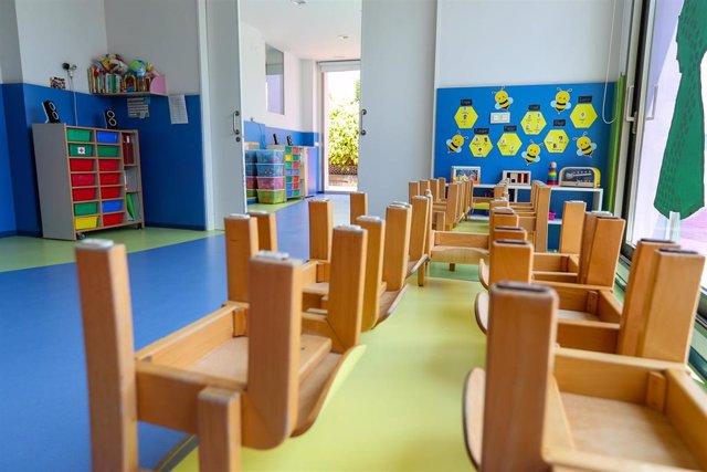 Mesas y sillas recogidas en un aula de un Centro de Educación Infantil , foto de archivo