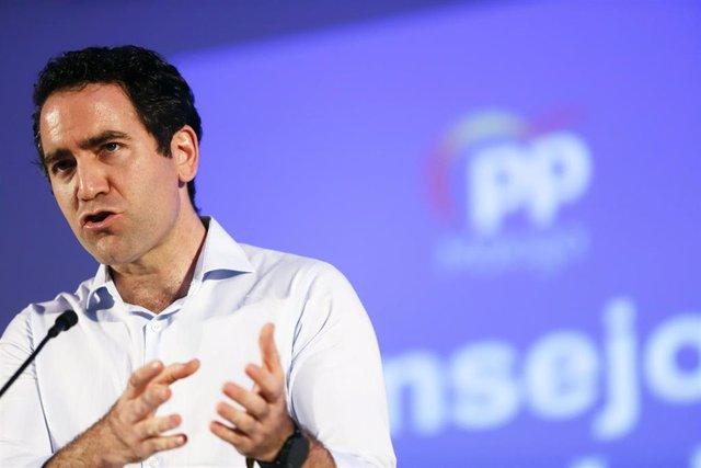 O secretario xeral do Partido Popular, Teodoro García Egea durante clausúraa o Consello de Alcaldes do PP de Málaga. En Málaga (Andalucía, España), a 26 de xuño de 2020.