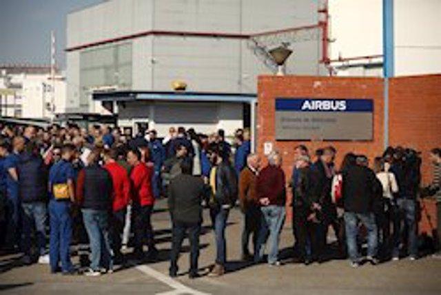 Imagen de archivo de una concentración de trabajadores de Airbus.