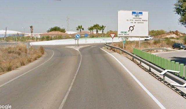 Punto de la carretera A-491R donde tuvo lugar el accidente