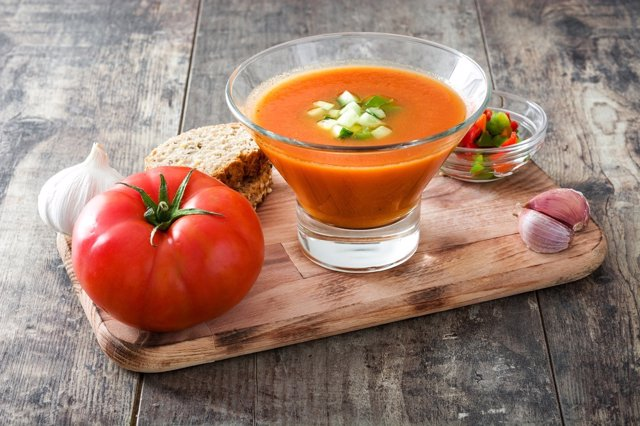 Traditional Spanish cold gazpacho soup