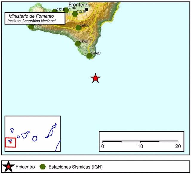 Terremoto localizado por el IGN al sur de El Hierro