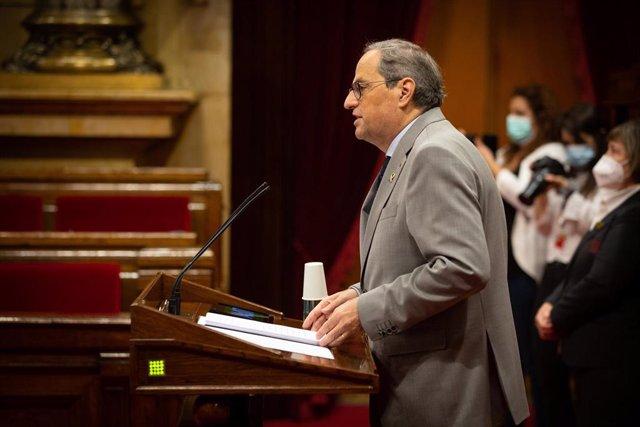 El presidente de la Generalitat, Quim Torra, en el pleno sobre la gestión del coronavirus