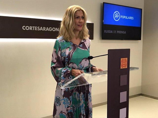 La portaviz del PP, Mar Vaquero, durante la rueda de prensa de este miércoles