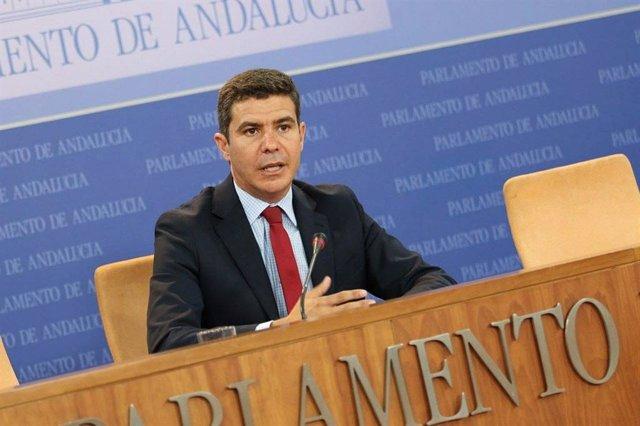 El portavoz de Ciudadanos en el Parlamento andaluz, Sergio Romero, en rueda de prensa.