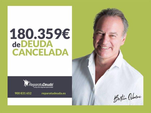 COMUNICADO: Repara tu deuda Abogados cancela  180.359 € en Lleida, Catalunya, me