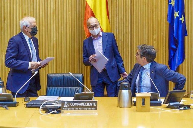 El alto representante de la Unión para Asuntos Exteriores y Política de Seguridad y vicepresidente de la Comisión Europea, Josep Borrell, y el presidente de la Comisión para la Reconstrucción Social y Económica del Congreso, Patxi López