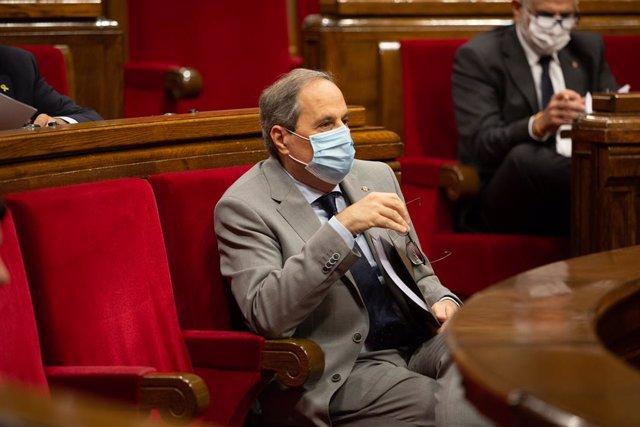 El president de la Generalitat, Quim Torra, en el debat sobre la gestió de la crisi sanitària i la reconstrucció de Catalunya.