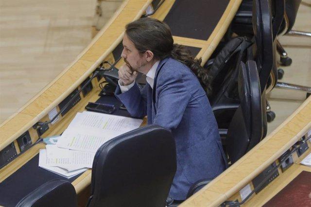 El vicepresidente segundo del Gobierno, Pablo Iglesias, durante el Pleno del Senado del 30 de junio