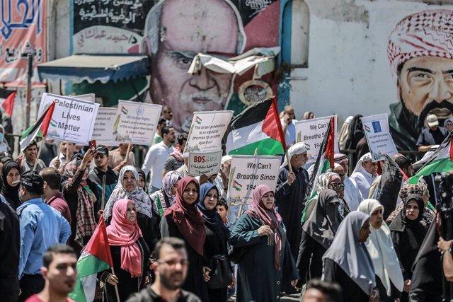 Protesta en Gaza contra los planes de anexión de Israel en Cisjordania