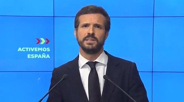El presidente nacional del Partido Popular, Pablo Casado.