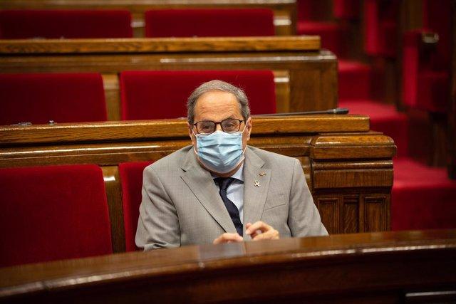 El presidente de la Generalitat, Quim Torra, en el pleno monográfico sobre la pandemia y sus consecuencias económicas y sociales del Parlament.