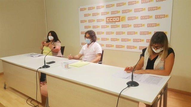 Rosa Maria Villaró, Manel Pulido y Celeste Attias, CC.OO.