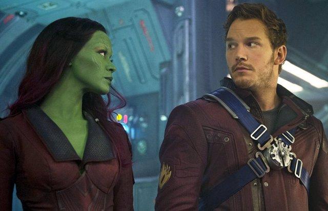 Gamora y Star-Lord en Guardianes de la Galaxia
