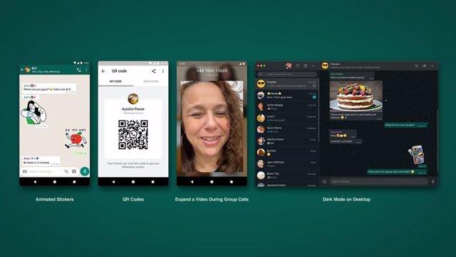 Stickers animados, códigos QR, videollamadas grupales a pantalla completa y modo oscuro de escritorio, de izquierda a derecha, en WhastApp.