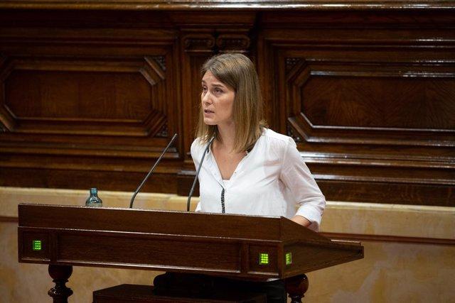 La presidenta de Catalunya en Comú Podem, Jéssica Albiach, al Parlament.