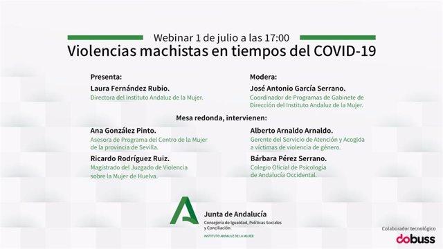 Imagen del seminario online organizado por el Instituto Andaluz de la Mujer sobre 'Violencias machistas en tiempos del Covid-19'.
