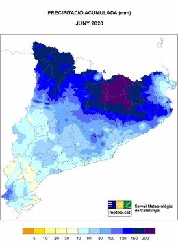 Precipitación acumulada en Catalunya durante el mes de junio del 2020