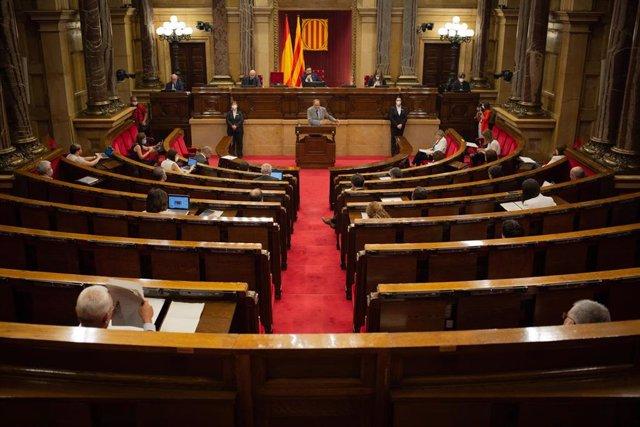 El presidente de la Generalitat, Quim Torra, interviene en el pleno monográfico del Parlament sobre la gestión del coronavirus.