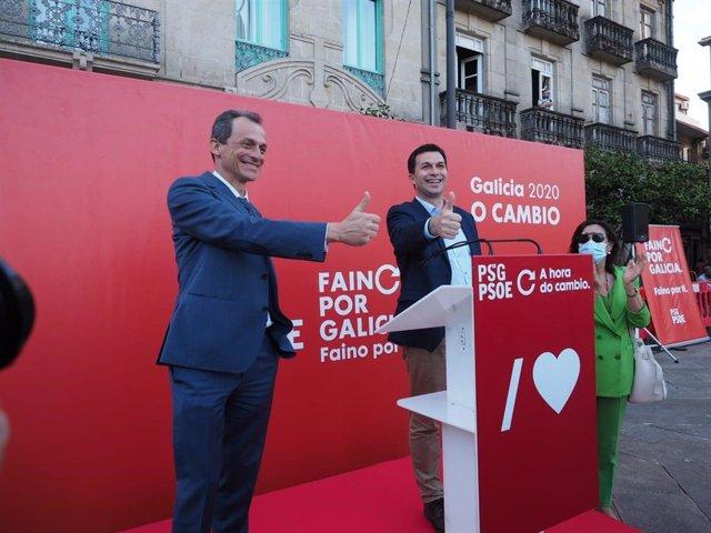 El ministro de Ciencia e Innovación, Pedro Duque, junto al candidato del PSdeG a la Xunta, Gonzalo Caballero
