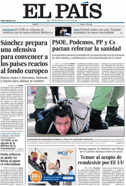 Las portadas de los periódicos del jueves 2 de julio de 2020