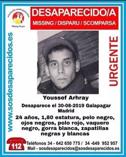 Imagen del joven desaparecido cuyo cadáver fue hallado el pasado domingo en Galapagar.