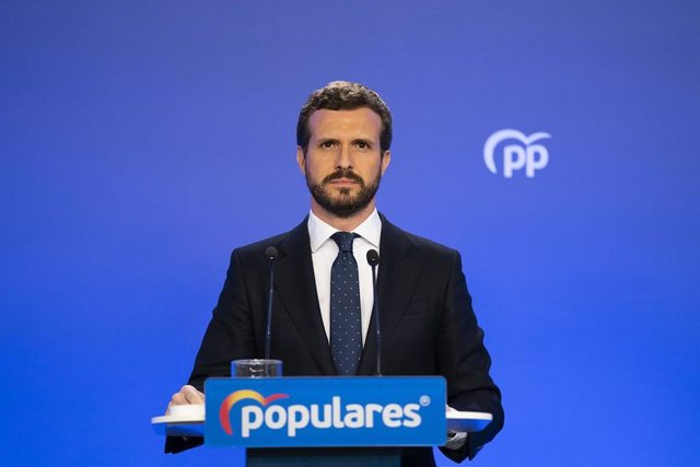 El presidente del PP, Pablo Casado, en una rueda de prensa en Génova.