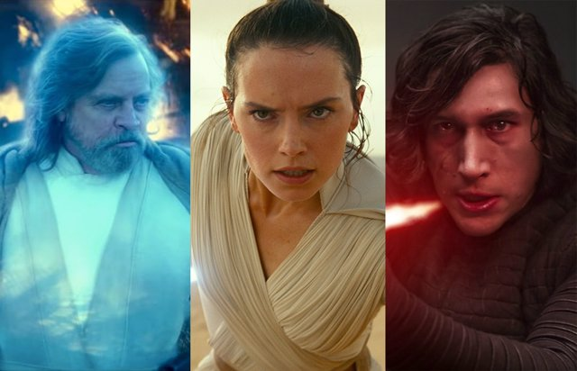 Luke Skywalker, Rey y Kylo Ren la última trilogía de la saga Star Wars