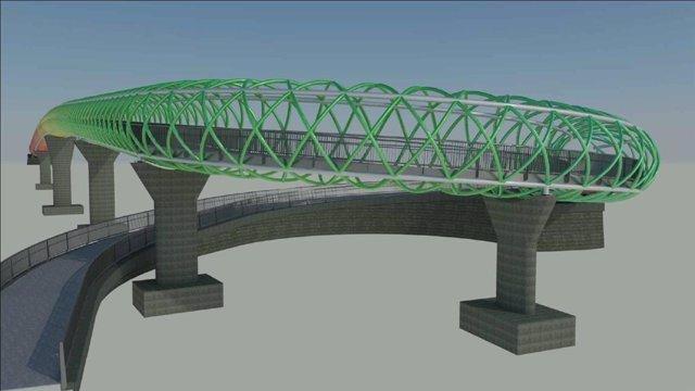Infografía de la nueva pasarela peatonal que unirá los barrios madrileños de San Cristonal y Butarque.