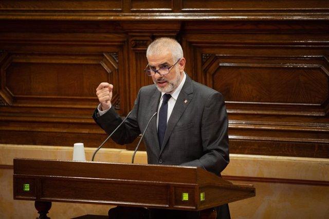 El president de Cs, Carlos Carrizosa, al Parlament.