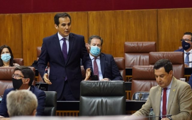 El portavoz parlamentario del PP-A, José Antonio Nieto, pregunta al presidente de la Junta, Juanma Moreno, en la sesión de control al Gobierno andaluz en el Pleno del Parlamento.