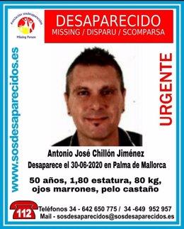 Buscan a Antonio José Chillón Jiménez, desaparecido en Palma este martes.