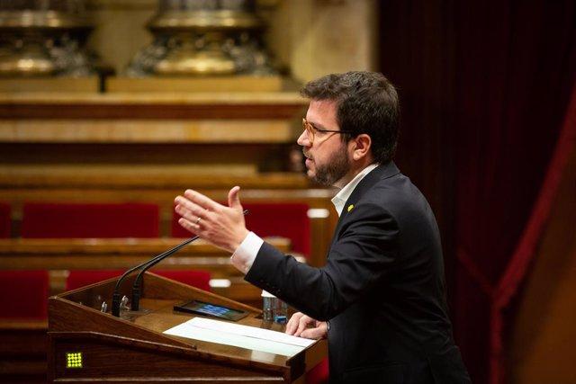 El vicepresident de la Generalitat i conseller d'Economia, Pere Aragonès, al Parlament l'1 de juliol del 2020.