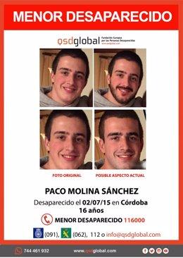 Imagenes del cordobés Paco Molina, desaparecido en 2015, mostrando el aspecto que puede tener con 20 años.