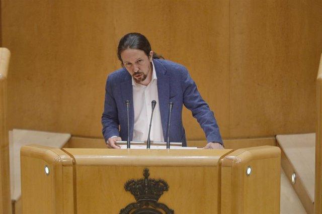 El vicepresidente primero del Gobierno y ministro de Derechos Sociales y Agenda 2030, Pablo Iglesias, durante una sesión plenaria en el Senado.