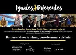 Cartel de la iniciativa #IgualesyDiferentes de la Asociación Achalay y Voluntarios Telefónica