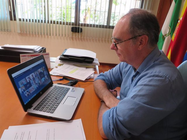 El delegado de Empleo, Formación, Trabajo Autónomo, Economía, Conocimiento, Empresas y Universidad en Huelva, Antonio Augustín, en el encuentro digital con empresarios de Aracena.
