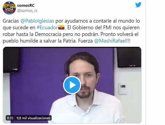 Exteriores informó a Ecuador de que el vídeo de Iglesias que motivó una protesta