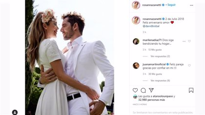 Rosanna Zanetti y David Bisbal celebran su segundo aniversario de boda