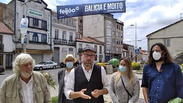 Beiras, Noriega y Antón Sánchez en un acto de Galicia en Común-Anova Mareas en Melide y Arzúa