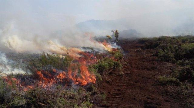 Incendio en Anllarinos del Sil (León).